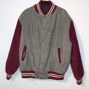 Vintage varsity wool blend corduroy snap jacket